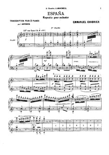 España: For two pianos four hands – piano I part by Emmanuel Chabrier