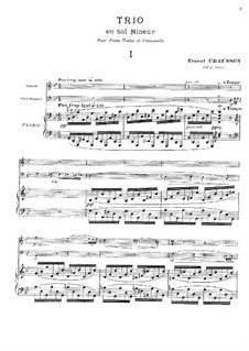 Piano Trio in G Minor, Op.3: Full score by Ernest Chausson