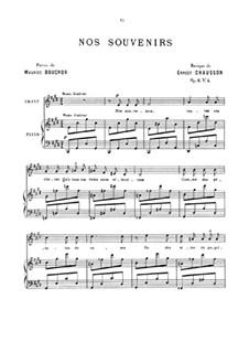 Four Melodies for Voice and Piano, Op.8: No.4 Nos souvenirs by Ernest Chausson