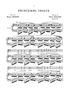 Four Melodies for Voice and Piano, Op.8: No.3 Printemps triste by Ernest Chausson