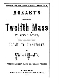 Mass in G Major: Full score by Wolfgang Amadeus Mozart