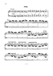 Fugue in A Minor, BWV 944: For piano by Johann Sebastian Bach