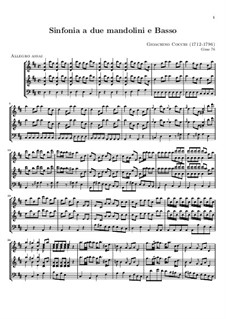 Symphony for Two Mandolins and Basso Continuo: Full score by Gioacchino Cocchi