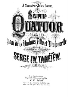 String Quartet No.6 in B Flat Major, Op.19: String Quartet No.6 in B Flat Major by Sergei Taneyev