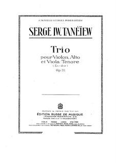 String Trio in E Flat Major, Op.31: String Trio in E Flat Major by Sergei Taneyev