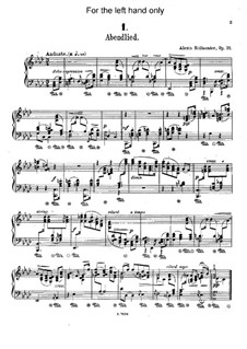 Six Piano Pieces for the Left Hand, Op.31: For piano by Alexis Hollaender