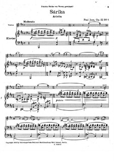Two Pieces for Violin and Piano, Op.52: Two Pieces for Violin and Piano by Paul Juon