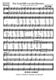 Das Laub fällt von den Bäumen: For vale choir, Op.248 by folklore