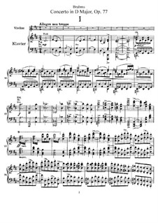 Concerto for Violin and Orchestra in D Major, Op.77: Version for violin and piano – score, part by Johannes Brahms