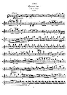 String Quartet No.1 in C Minor, Op.51: Violin I part by Johannes Brahms