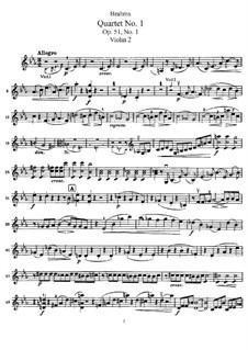 String Quartet No.1 in C Minor, Op.51: Violin II part by Johannes Brahms