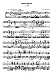 Three Melodies for Piano, Op.21: Melody No.3 by Hans Huber