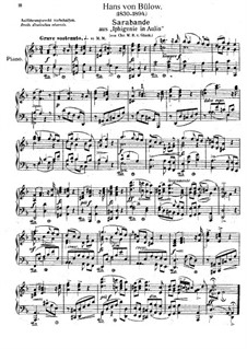 Iphigenia in Aulis, Wq.40: Sarabande, for piano by Christoph Willibald Gluck