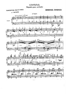 España: For two pianos four hands – piano II part by Emmanuel Chabrier