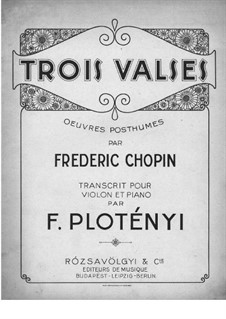 Waltzes, Op. posth.70: For violin and piano by Frédéric Chopin