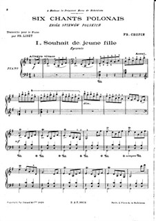 Six chants polonais. Transcriptions on Themes by Chopin, S.480: Complete set by Franz Liszt