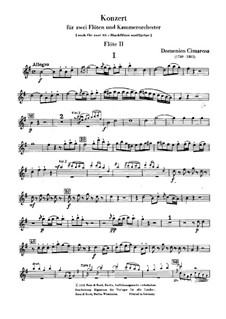 Concerto for Two Flutes and Orchestra: Version for two flutes and piano – flute II part by Domenico Cimarosa