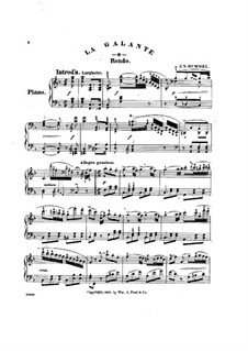 La Galante. Rondo, Op.120: For piano by Johann Nepomuk Hummel