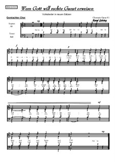 Wem Gott will rechte Gunst erweisen: For mixed choir, Op.81 by folklore