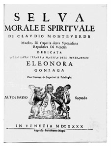 Selva morale e spirituale, SV 252–288: Bass II (voice) and viola parts by Claudio Monteverdi