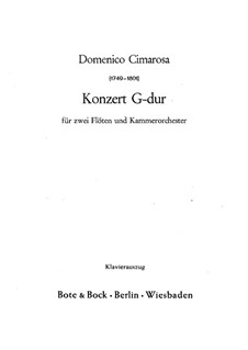 Concerto for Two Flutes and Orchestra: Version for two flutes and piano by Domenico Cimarosa