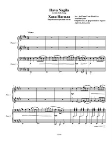 Hava Nagila: For piano four hands by folklore
