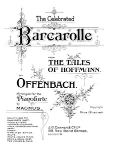 Barcarole: Version for piano (D Flat Major) by Jacques Offenbach