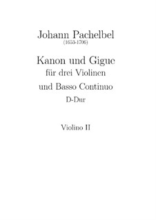 Canon and Gigue in D Major: Violin II part by Johann Pachelbel