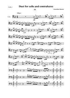 Duetto per Violoncello e Contrabasso: Version for two cellos. Movement III by Gioacchino Rossini