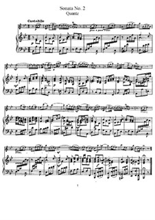 Sonata for Flute and Basso Continuo No.2, QV 1:153 Op.1: Version for flute and piano – score and solo part by Johann Joachim Quantz