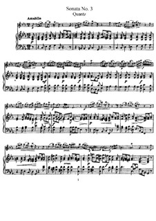 Sonata for Flute and Basso Continuo No.3, QV 1:16 Op.1: Version for flute and piano – score and solo part by Johann Joachim Quantz
