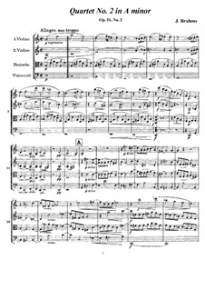 String Quartet No.2 in A Minor, Op.51: Full score, parts by Johannes Brahms