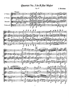 String Quartet No.3 in B Flat Major, Op.67: Full score, parts by Johannes Brahms