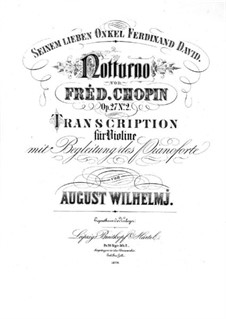 Nocturnes, Op.27: No.2, for violin and piano by Frédéric Chopin