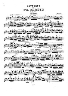 Nocturnes, Op.27: No.2, for violin and piano – solo part by Frédéric Chopin