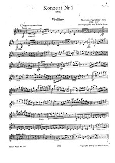 Concerto for Violin and Orchestra No.1 in D Major, Op.6: Solo part by Niccolò Paganini