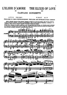 L'elisir d'amore (The Elixir of Love): Piano-vocal score by Gaetano Donizetti