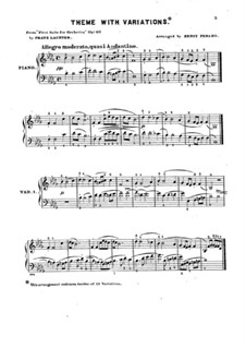 Suite No.1 for Orchestra, Op.113: Theme and Variations for Piano by Franz Paul Lachner