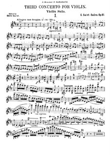 Concerto for Violin and Orchestra No.3 in B Minor, Op.61: Solo part by Camille Saint-Saëns