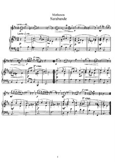 Sarabande: Score for flute and piano, solo part by Johann Mattheson