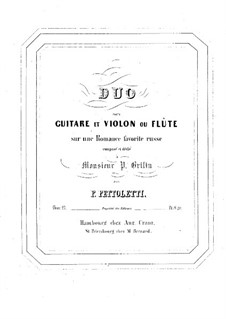 Duo for Guitar and Violin (or Flute), Op.27: Duo for Guitar and Violin (or Flute) by Pietro Pettoletti