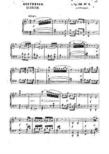 Quartet No.2 in G Major: Version for piano by Ludwig van Beethoven
