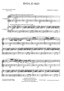 Bolero, M.81: For two pianos four hands by Maurice Ravel