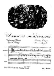 Chansons madécasses, M.78: For soprano, flute, cello and piano by Maurice Ravel