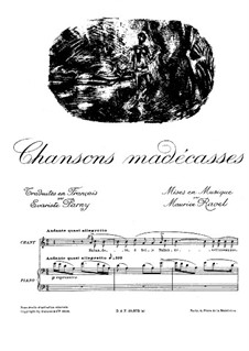 Chansons madécasses, M.78: For voice and piano by Maurice Ravel