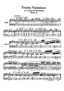 Twelve Variations on Russian Dance from 'Das Waldmädchen' by P. Wranitzky, WoO 71: For piano by Ludwig van Beethoven