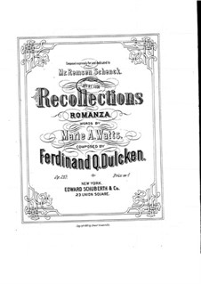 Recollections (for Voice and Piano): Recollections (for Voice and Piano) by Ferdinand Dulcken