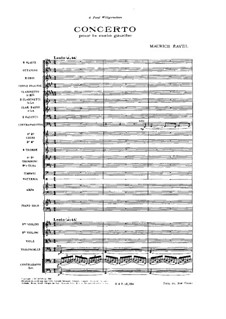 Concerto for the Left Hand in D Major, M.82: Full score by Maurice Ravel