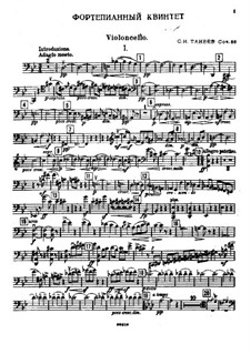 Piano Quintet in G Minor, Op.30: Cello part by Sergei Taneyev