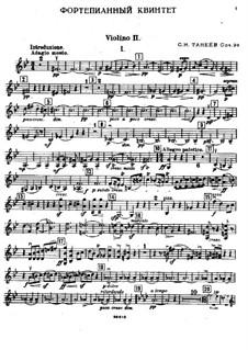 Piano Quintet in G Minor, Op.30: Violin II part by Sergei Taneyev